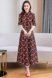 中国风蕾丝裙女2020春夏新款改良旗袍式连衣裙优雅气质收腰中长款