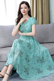 .新款短袖夏装雪纺连衣裙时尚流行女装2019夏天气质长裙