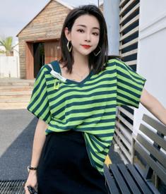 实拍D&ONE2021夏季条纹露肩上衣设计感短袖宽松显瘦V领t恤