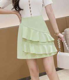實拍 夏短裙新款高腰時尚設計感不規則半身裙女顯瘦褶皺a字包臀裙