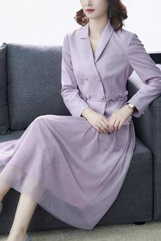 女裝2020秋裝新款通勤時尚假兩件西裝領拼接網紗連衣裙