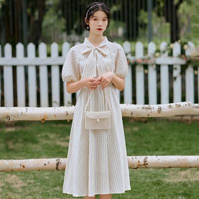 限价实拍不低于90复古文艺风连衣裙 蝴蝶结系带短袖和尚服