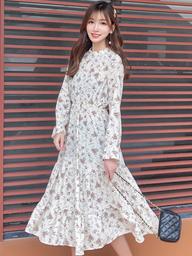 视频实拍2019新款韩版半高领复古碎花蛋糕连衣裙