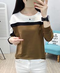 9652#2018秋冬季新款韩版女装长袖拼接修身显瘦宽松大码T恤 实拍