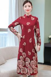 实拍2018秋装新款女装立领修身九分袖中长款印花连衣裙6531
