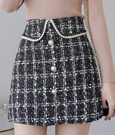 2020秋冬新款小香風氣質顯瘦高腰粗花呢a字裙包臀格子半身裙短裙