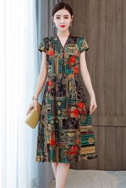 實拍年輕款真絲連衣裙杭州新款高端品牌重磅桑蠶絲改良旗袍媽媽新