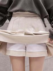 640#实拍 秋冬学院风百褶裙显瘦a字裙弹力高腰短裙女毛呢半身裙女
