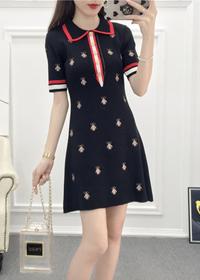 实拍韩版新款蜜蜂刺绣POLO裙简约针织显瘦修身短袖保罗裙连衣裙潮