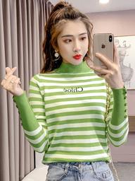 实拍秋冬条纹毛衣女2019新款韩版字母长袖针织衫百搭套头打底上衣