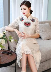 2019新款重工刺绣修身长裙女中国风优雅蕾丝连衣裙
