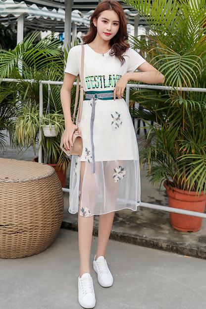 裙子女夏2019流行女装新款夏季裙夏天潮连衣裙套装夏装两件套网纱