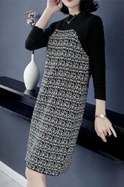 针织连衣裙女2018秋冬新款修身显瘦气质高贵中长款长袖打底毛衣裙