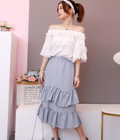 6622#实拍夏季双层花边流苏喇叭袖一字领上衣+高腰蛋糕裙女 套装