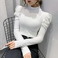 实拍#2020新款秋季半高领打底衫女内搭长袖t恤秋衣修身泡泡袖上衣