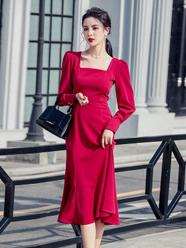 法式復古紅色連衣裙赫本修身包臀魚尾長裙氣質禮服春裝2021年新款