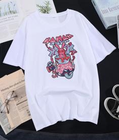 2004#【实拍图】新款情侣涂鸦暗系兔短袖男女潮牌宽松圆领T恤上衣
