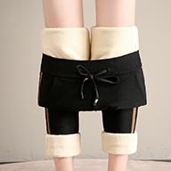 實拍視頻 羊羔絨女外穿高腰加絨加厚打底褲彈力顯瘦保暖棉褲10209