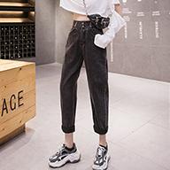 【实拍】牛仔裤女裤宽松2019新款高腰直筒显瘦黑色百搭老爹萝卜裤