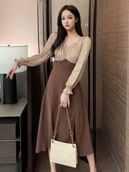 赫本風拼接收腰顯瘦長袖連衣裙女2021春款小性感側開叉設計連衣裙