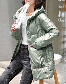实拍免洗亮面2021新款韩版中长款时尚连帽宽松冬季棉袄外套女