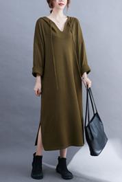 实拍现货2021年秋冬新款超大版连帽长袖针织长裙卫衣裙打底