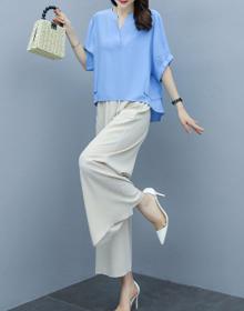 棉麻套装女2020夏装新款时尚韩版短袖阔腿裤休闲透气亚麻料两件套