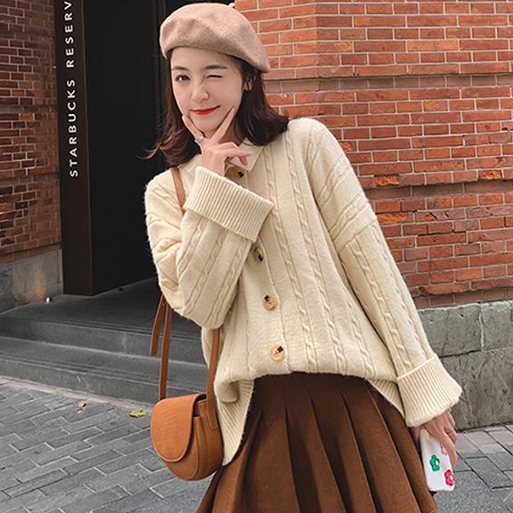 8001#很仙的毛衣开衫女宽松慵懒风加厚韩版翻领上衣针织外套秋