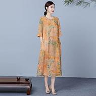 2020新款纯亚麻包边连衣裙复古中国风印花立领珠扣大码裙子女