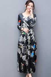 实拍2018春季新款七分袖连衣裙女圆领复古长裙粘花金丝绒宽松裙