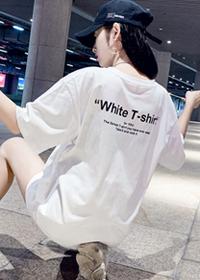 062#实拍(纯棉 )中长款2019夏装新款韩版宽松背后印花短袖t恤女