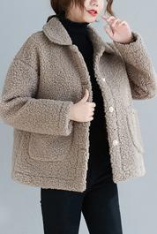 實拍8596#秋冬新款加厚百搭寬松休閑皮毛一體羊羔毛外套送包包