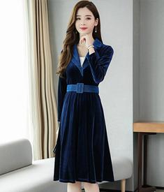 《实拍》金丝绒连衣裙女2019秋季新款名媛气质西装领长袖a字裙