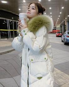 官网图 高梵同款撞色大毛领羽绒服女韩版中长款加厚保暖面包外套