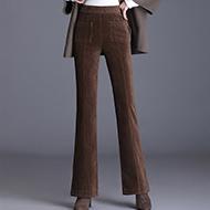 实拍灯芯绒裤子女秋冬2020新款高腰垂坠感微喇叭九分条绒阔腿长裤