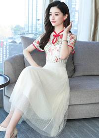 实拍 现货 新款短袖时尚蕾丝拼接网纱气质长款连衣裙