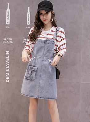 【实拍】牛仔背带裙春夏女2019新款宽松韩版小个子学生减龄短裙子