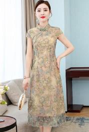 2020夏季新款时尚印花收腰妈妈装中长款旗袍立领短袖改良版连衣裙