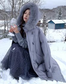 官网图 白鸭绒新款韩版时尚牛角扣羽绒服女中长款宽松加厚外套