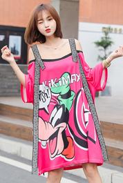 2020新品实拍 泰国潮牌卡通印花一字领 露肩宽松中长款 T恤裙283#