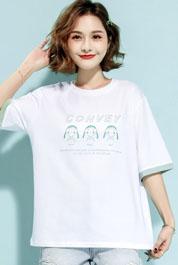 【中袖】2021新款T恤女韩版时尚大码小众设计休闲ins潮百搭纯棉实拍