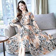 实拍2296#雪纺显瘦连衣裙秋季女装2019新款中长款长袖气质长裙