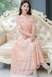 实拍2519#2020春夏新款修身仙美名媛中袖蕾丝中长款蕾丝连衣裙子