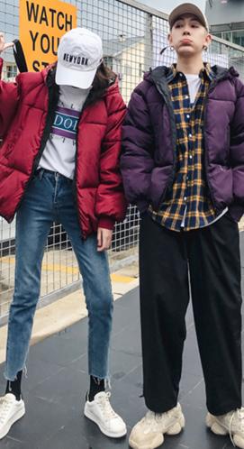 实拍2018冬季新款韩版棉服情侣装羽绒服棉衣外套学生宽松大码棉袄
