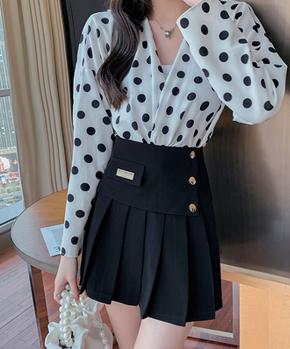 百褶裙女2021夏新款高腰显瘦时尚短裙气质百搭A字裙防走光半身裙