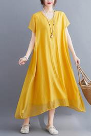 实拍现货2020年夏装新大码女装胖mmV领气质真丝棉连衣裙宽松显瘦