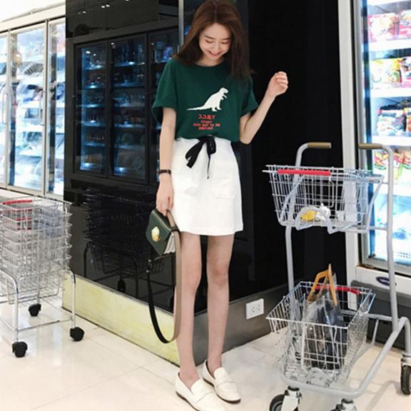 夏装2019新款套装韩版时尚网红闺蜜装学生上衣复古半身裙两件套女