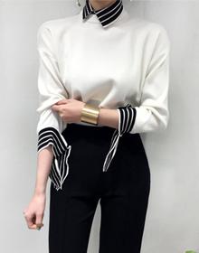 袖子系带撞色条纹毛针织衫2019新款女秋冬修身长袖内搭毛衣打底衫