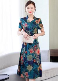连衣裙2019新款夏改良旗袍中年妈妈女高贵气质杭州印花桑蚕丝裙子