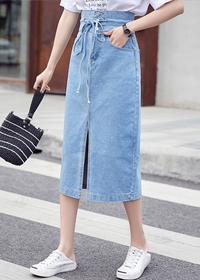 806实拍2019春夏季款女装A字牛仔裙中长款半身裙高腰系带蝴蝶结